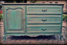 Szmaragdowe / Marine Green Blue Lightblue Turqouis / Piękny zestaw szmaragdowych antyków / Beautiful set of blue-green old furniture