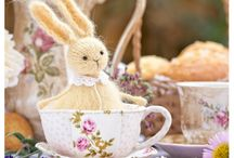 Woolly Rabbits - Knitted Felted Bunny Art Dolls / Your behind-the-scenes look-book of how little stuffed animals full of personality can make the world a better place. Knitted Rabbits, wool bunnies, art dolls.