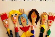 Wooden spoon art toddler