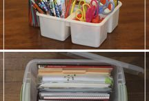 Homeschool: Storage and Space / Tips and tricks for keeping an organized homeschool without a dedicated room. Organizing with bookshelves, armoires, keeping stuff on the computer, etc.