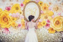 Задний фон для стола молодоженов (presidium of the newlyweds) / Украшаем президиумы цветами из бумаги