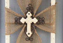 burlap frame crosses