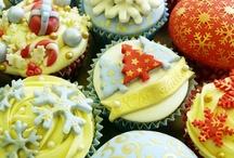 Christmas cupcake stencilling
