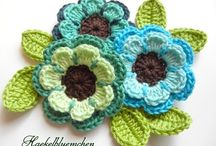 Crochet flowers 6 pcs