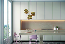 Caesarstone Tuscan Dawn / A mix taupe colour background with rich, light and creamy natural thick veins