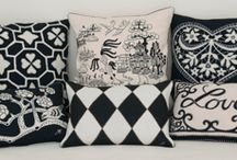 China Black ❤️ / This stunning range of cushions is made from luxurious linen and wool, embroidered with motifs such as blossoms, birds, hearts and the ubiquitous willow pattern.