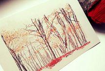Paisajes dibujados / Ilustraciones de paisajes realizadas en acuarela, óleo, lápiz...