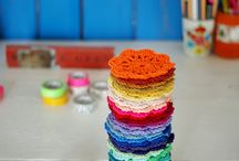 YARN-Quick Gift Ideas!! / Coasters, placemats, stool covers, pillow trims, water bottles, dish rags, hot pads, techie cases