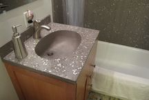 Bathroom Remodel / Custom sinks, #concretecountertops, and more. Check out our website http://www.wellsconcreteworks.com/
