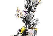 Imagine | Part I / Diseño poderoso con la figura del tigre, ya que este nos contamina de valentía y rebeldía. Contemplamos cómo el color amarillo rojizo y negro del tigre han sido trasladados a sus proximidades.  La flor de loto nos proporciona pureza.