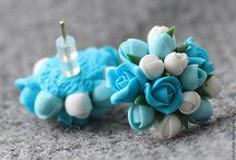 fimo brincos flores