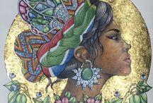 meus desenhos coloridos / #livrosdecolorir #hannakarlzon #daydreams #prismacolor #fabercastell