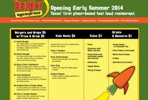 Earth Burger / A Vegan/Vegetarian Fast Food Veggie Stand. Opening Summer 2014. Located at NW 410 & Blanco, in the Park North Shopping Center