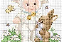 Cross stitch animal babies