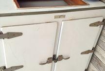 Vintage General Electric refrigerator / Rare double door / by Sharon Lash