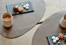 New! LindDNA Collection / A special shape and unique material. Made from recycled leather in combination with rubber, to create placemats, coasters and trays that are waterproof and easy to maintain. Due to its unusual shape and beautiful texture these products are real eye-catchers on your table.