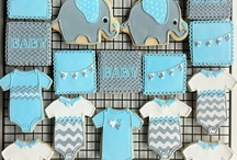 Grey and blue baby shower