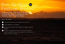 """Pin-to-Win: Festival Bound / Enter for a chance to win a $500 gift card to purchase your favorite ROXY Festival Styles. How to Enter: 1. Complete the form on http://www.roxy.com/sweepstakes 2. Follow @ROXY on Pinterest 3. Create a new board titled """"ROXY Pin-to-Win: Festival Bound"""" 4. Pin with inspiration from our """"Pin-to-Win: Festival Bound"""" board showing us your favorite styles & must haves for festival season"""