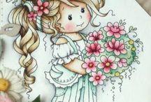 Desenhos Meninas / Desenhos, ilustrações coloridas e preta e branca de bonecas e meninas e personagens de meninas.