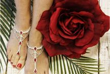 """Red wedding ideas / Red wedding inspirations. From breathtaking barefoot sandals and foot jewelry to charming invitations. All inspired with the romantic color of red. the perfect wedding color for all you hopeless romantics. Pin, Follow and Love!  A little """"ROMANCE IN RED"""""""