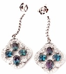 Genuine Alexandrite & Diamond Earrings