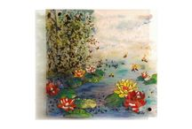 Water lilly, נופרים / Fusing and painting on glass,  ציור על זכוכית  53x53 cm