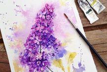 sulu boya çiçek