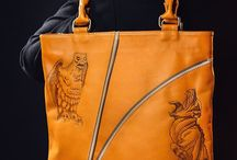 Men's leather handmade tote bag, pyrographied print Chimeras №1 / A pleasant, mustard-coloured comfortable men's tote bag with a design from our Chimera collection: creatures described in Greek mythology with the body, legs and wings taken from different animals and breathing fire from their jaws.