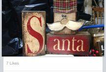 Kerst houtblokken