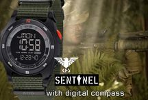 """strong watches for strong men / The new model series """"Sentinel DC"""" from the KHS Tactical Watches is an ultramodern multi-functional watch with built-in digital Kompass. The ultra-light weight of only 57 grams, coupled with superior functionality and a digital compass, draw this """"KHS Digital alarm chronograph """"which is also a digital dual timer, off!"""