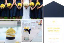 wesele żółto granatowe