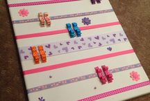 Purple Emmy Personalized hair clip boards and clips for baby girls / Hair Clip holders / boards personalized and made by ME!