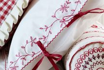 Red and white embroidery