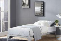 Modern Platform Bed Furniture Home Frame Sleep Bedroom Cozy Steel Base Silver
