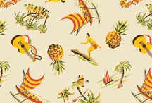 Tiki and Aloha - Spoonflower / Original fabric/wallpaper designs and adaptations of traditional tiki and Hawaiian designs in mid-20th century style, for sale at my shop on Spoonflower.com http://www.spoonflower.com/profiles/muhlenkott