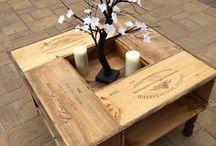 table basse caisses à vin