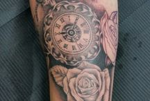 pocket watch tattoo in progress