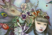 KAORI OGAWA... / Kaori Ogawa Japanese Artist born 1981 in Saitama, Japan. Her work is filled with dreamlike worlds of plants, animals and dark haired girls.Her Artwork belongs to a genre of artists of Nihonga, who use coloured pigments made from powdered ores and seashells.