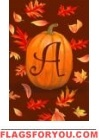 Pumpkin Leaves Monogram Flags