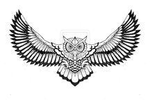 Owl wings tattoo JNRT