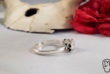 DM Skull Jewels / Handmade silver and polymer clay skull jewellery