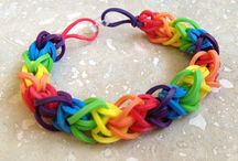 rainbow rubber band bracelet / by Patty Caza