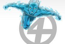 Comic art 27=Fantastic 4-Human Torch (Jonny Storm)-Iceman(Bobby Drake)-Toro (Thomas Raymond)- / The original Human Torch (Jim Hammond)-Lyja (Alicia Masters)