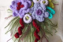 Crochet corsages and brooches