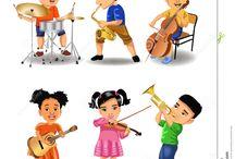 hudobné nástroje a noty