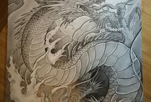 Japanese Sleeve Tattoo Black And Grey Dragon
