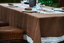 Mantel Lino Las Hilanderas / Mantel de Lino puro en color chocolate