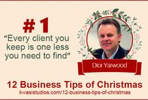 12 Business Tips of Christmas / Discover the 12 business tips of Xmas. Tune in to the Kwasi blog over the first two weeks of December for a gift that keeps on giving. See tips here: http://www.kwasistudios.com/12-business-tips-of-christmas/ #Christmas #Business #Tips