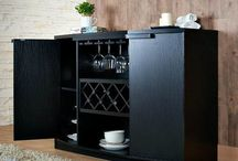 Black Wine Bar Storage Buffet