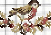 cross-stich birds